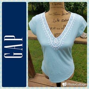 Gap Embroidered Aqua T-shirt